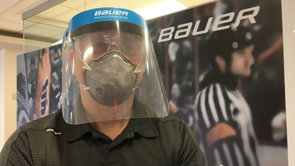 Bauer is modifying its production line to make protective visors and masks for healthcare workers during the COVID-19 crisis.